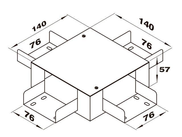 """Caixa de derivação """"X"""" para perfilado duplo"""