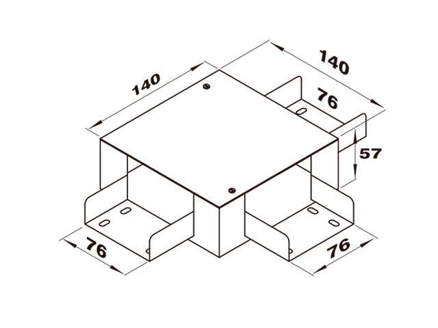 """Caixa de derivação """"T"""" para perfilado duplo"""