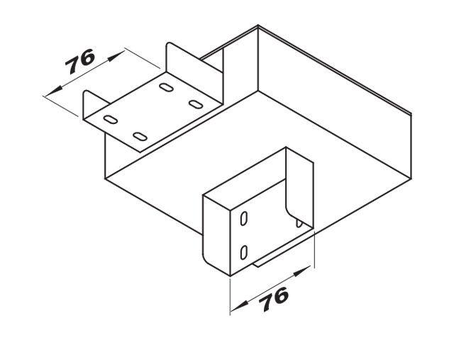 """Caixa de derivação """"I"""" para perfilado duplo com 1 saída inferior"""