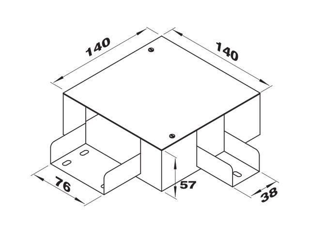 """Caixa de derivação """"L"""" direita para perfilados de 38 e 76"""