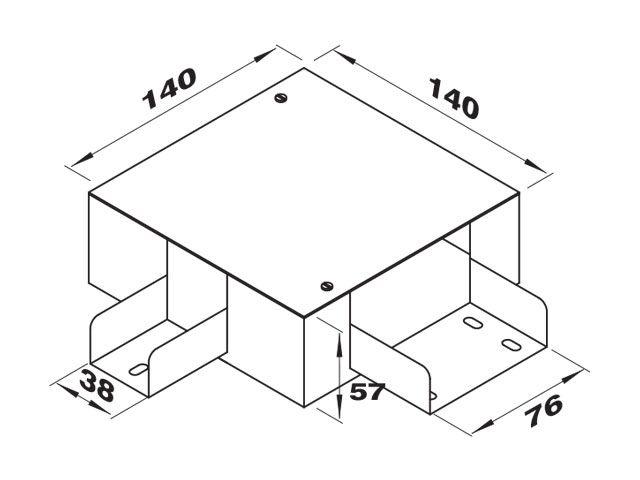 """Caixa de derivação """"L"""" esquerda para perfilados de 38 e 76 mm"""