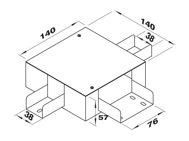 """Caixa de derivação """"T"""" para 2 perfilados de 38 e 1 de 76"""